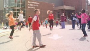 Students at Wallingford Elementary School Jump Rope