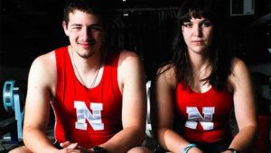 George Pagano and his rowing partner Caitlin Miller