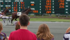 Spectators watching harness racing at Harrah's in Chester