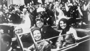 Photo of John F. Kennedy's motorcade in Dallas.