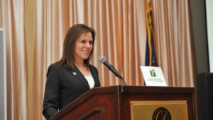 Trish McFarland, president of the Delaware County Chamber of Commerce at a 2015 Small Business Awards dinner.