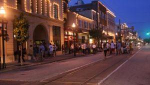 State Street at night in Media Borough