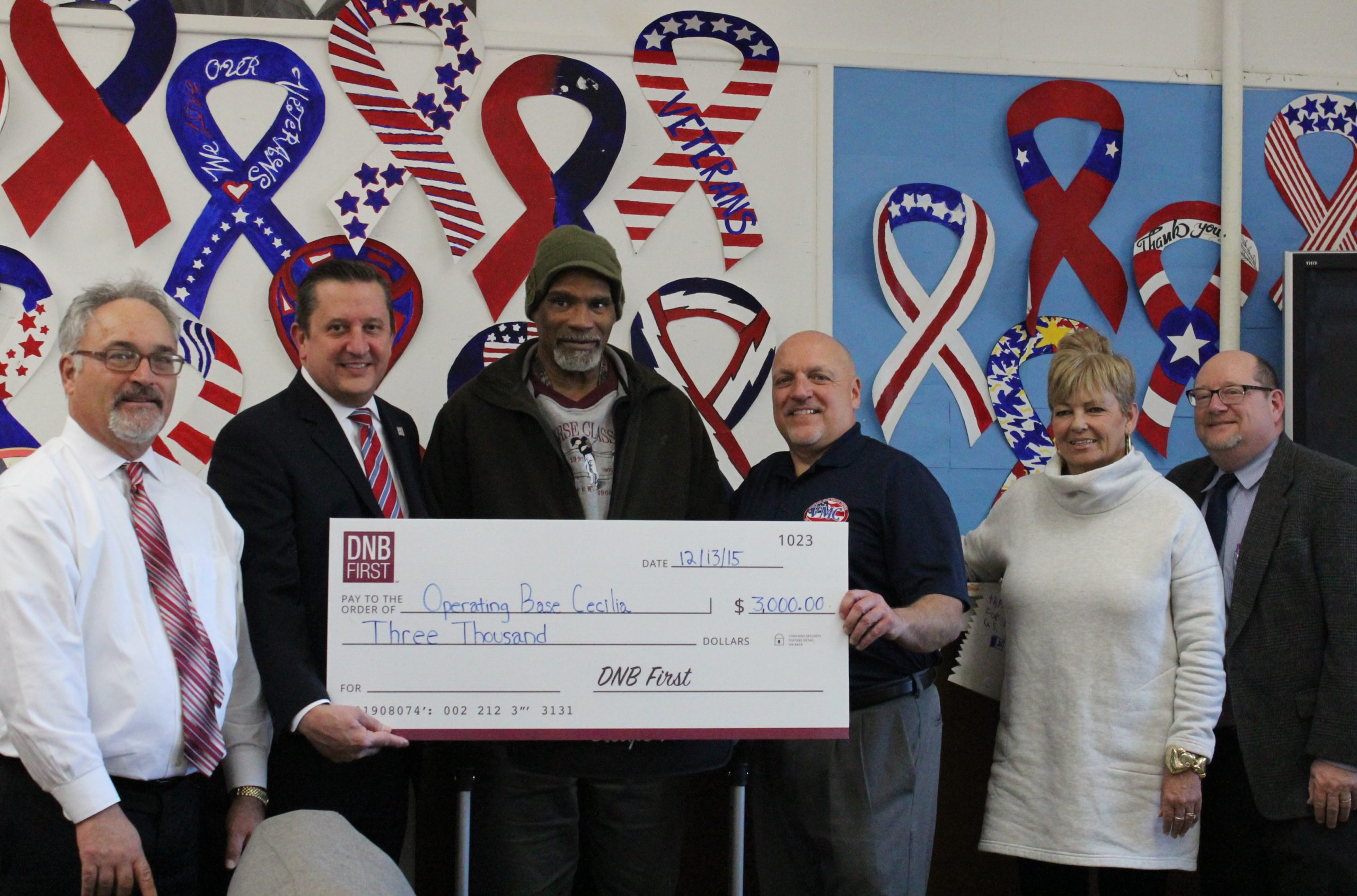 Committed to Helping Veterans, DNB First Donates $3,000 to Operating Base Cecilia