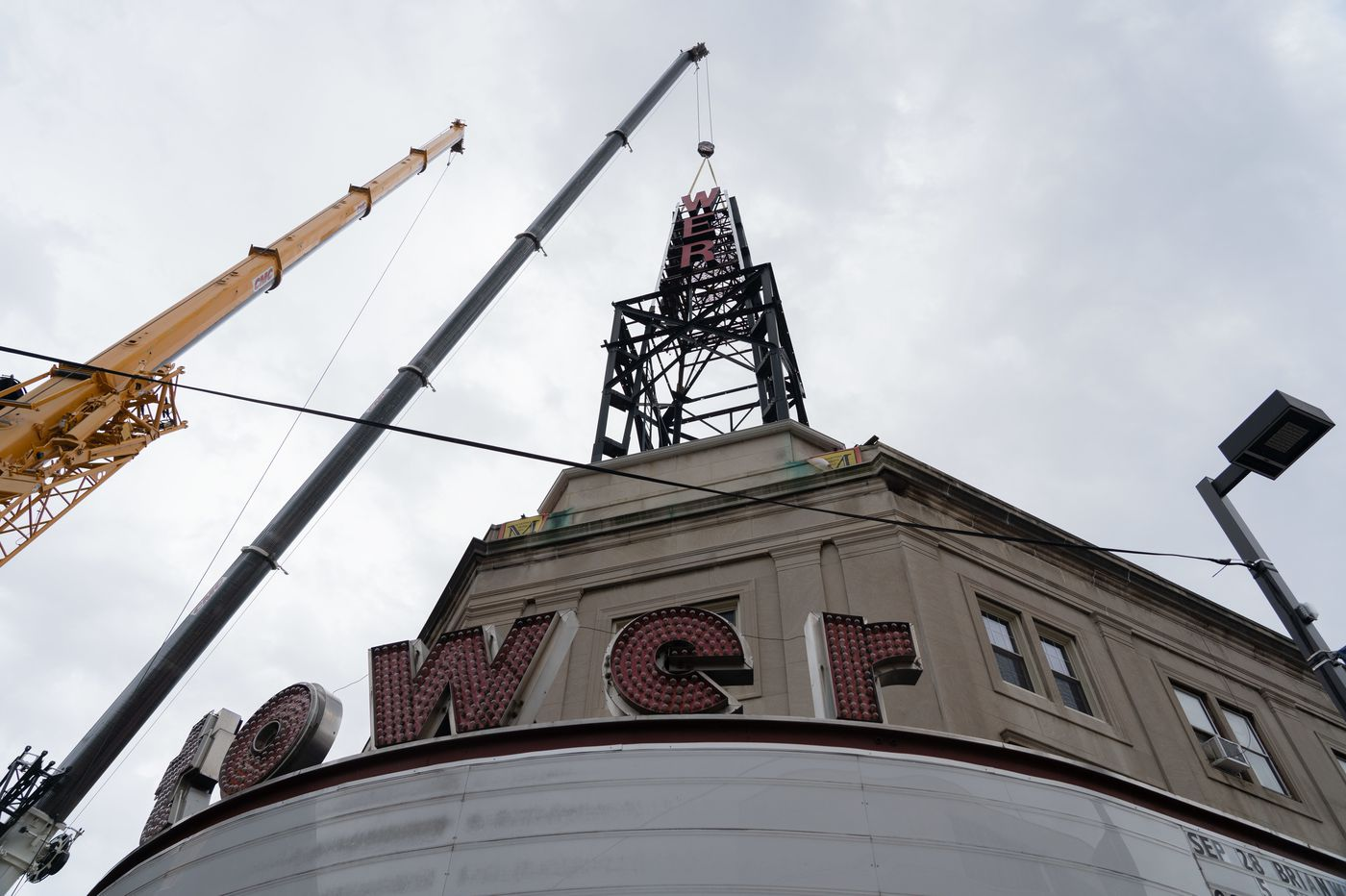 Upper Darby's Tower Theater Sign Comes Down, Museum Gets Iconic Sphere and Letters