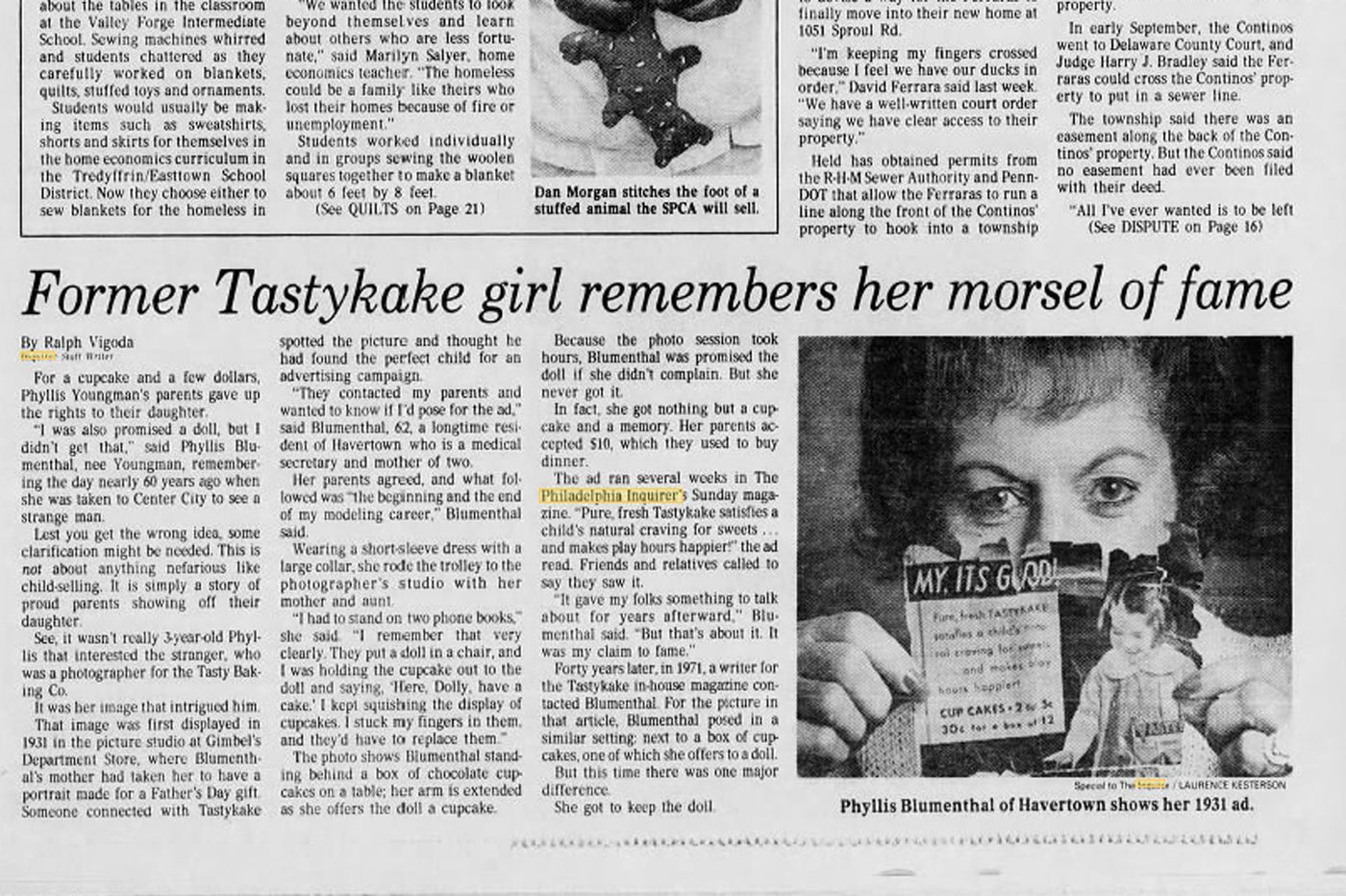 Tastykake Promised Her a Doll for Posing in an Ad.  She didn't get it.