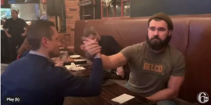 Eagles' Jason Kelce Stops By Havertown's Brick & Brew for an Arm Wrestle Challenge
