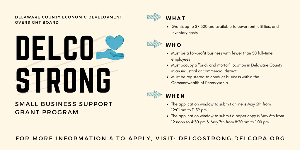 Delaware County Small Businesses Offered Grant Opportunities Through 'Delco Strong'