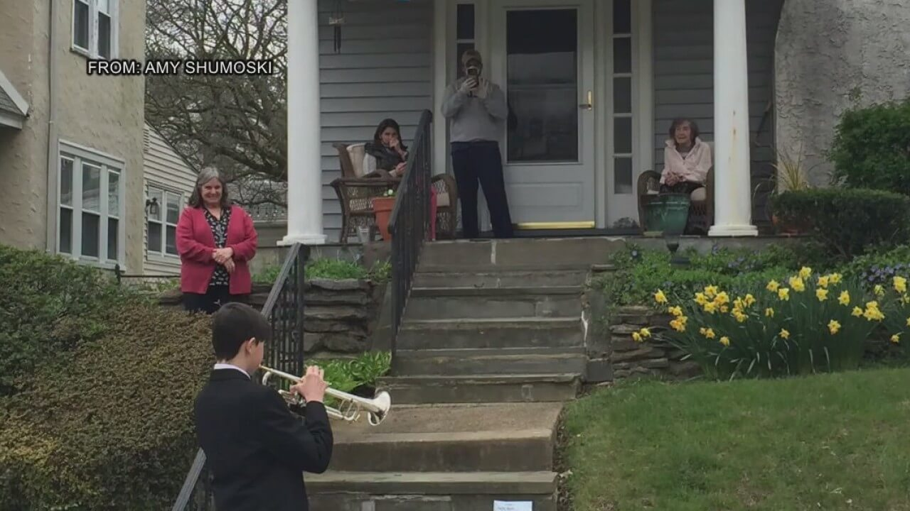Talented 8th Grader Offers a Musical Gift  in Havertown for a 93rd Birthday in This Time of Social Distancing