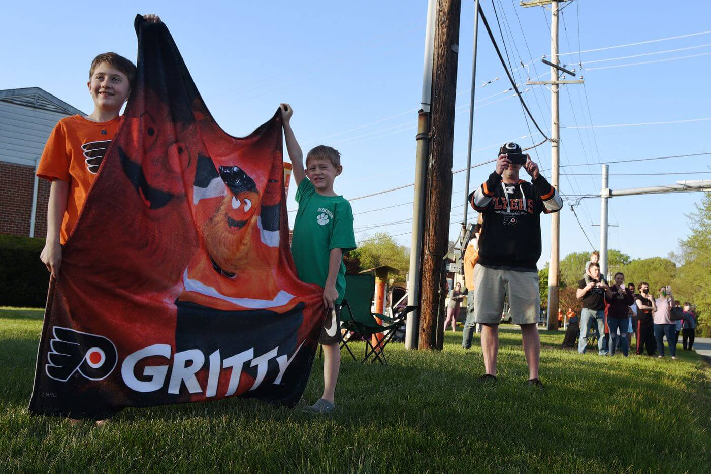 Gritty Heads First Responders Parade in Middletown to the Delight of His Quarantined Fans