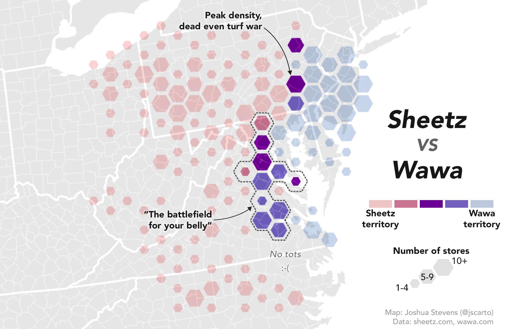 Now a NASA Cartographer Has Weighed in on Wawa/Sheetz Turf War With a Twitter Store Map