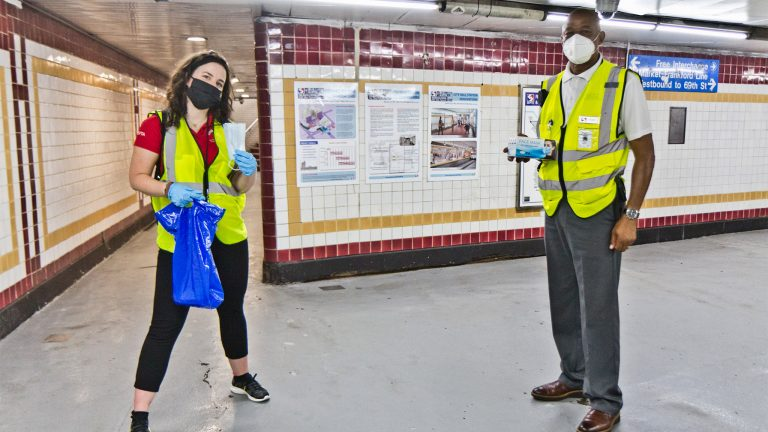 SEPTA 'Ambassadors' Remain Upbeat in Passenger Mask Giveaway