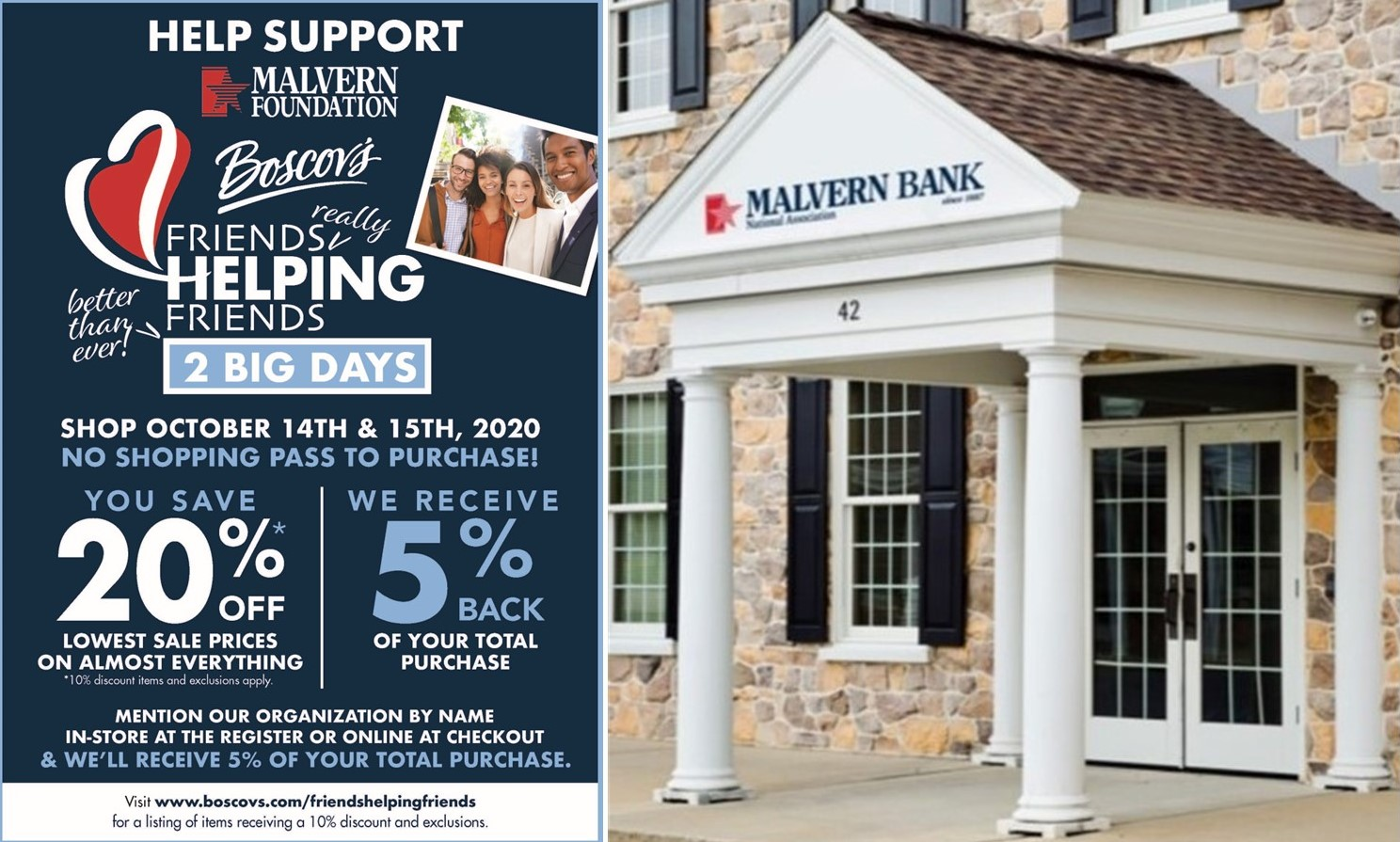 Shop Today at Boscov's to Receive Discounts; Direct Your Proceeds to Malvern Federal Charitable Foundation
