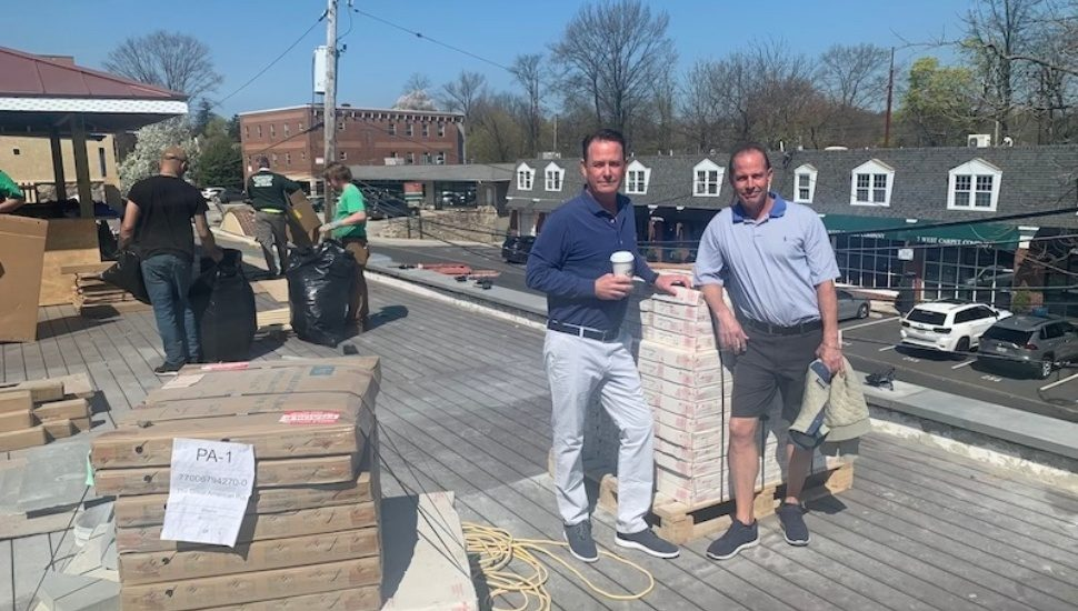 Great American Pub rooftop bar under construction in Wayne