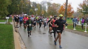 Runners along a street in one of the Delaware County towns.