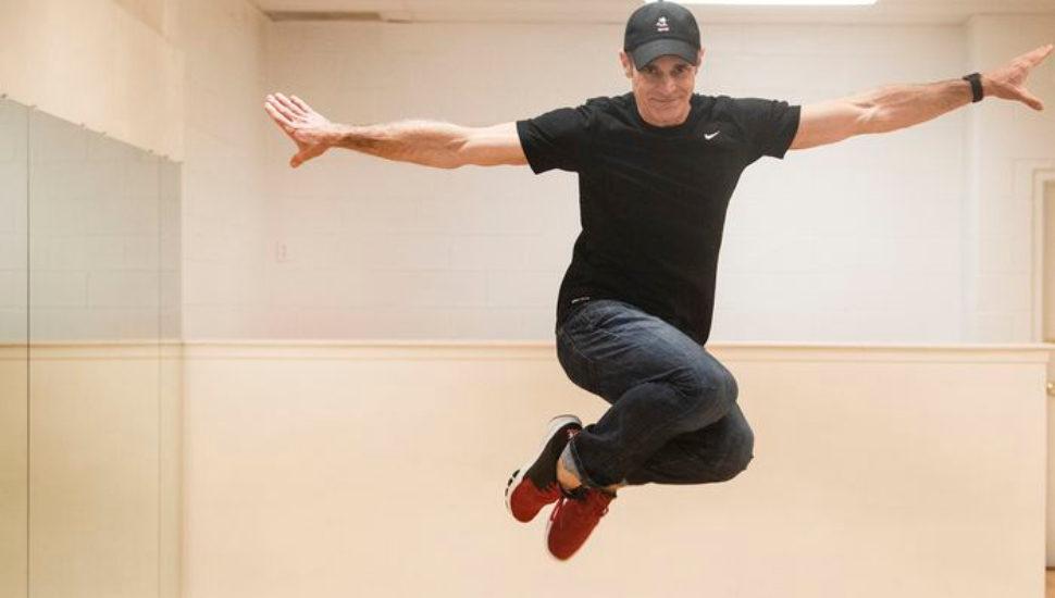 Sam Sinns, a former Disney dancer, performs at his Newtown Square dance studio, Twirl.