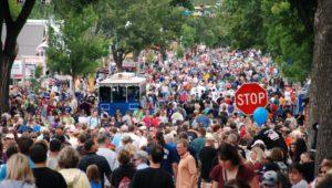 Large crowds like this pre-pandemic crowd may be seen again as places like Disneyland plan reopenings.