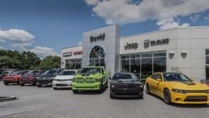 Less new cars sit on the lot at David Dodge Chrysler Jeep RAM
