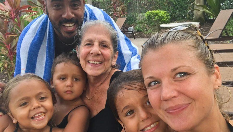 Rona with the Hamilton family on vacation.