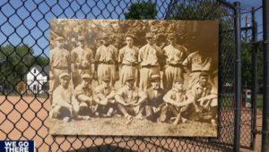 New York Yankees vintage 1920s team postcard superimposed over image of Upland Borough'sBristol Lord Field.