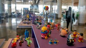 Wind up toys in an art exhibit of unique objects at the Philadelphia International Airport