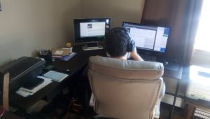 Employee does remote work at home