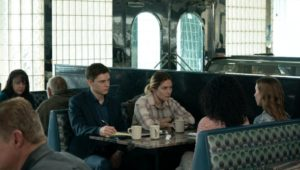 Kate Winslet as detective Mare Sheehan in a scene from 'Mare of Easttown.'