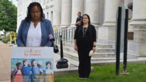A recent press conference at the Media Courthouse to discuss the results of the voter poll.