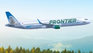 A Frontier Airline airplane in flight