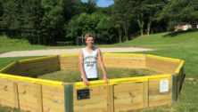 Max McGovern, standing in the gaga pit he built for Aronimink Swim Club.