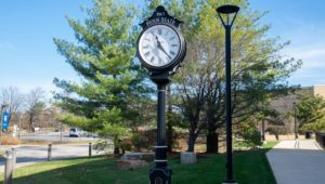 The Penn State Great Valley clock in the courtyard. It's almost time for NoonTimeU.