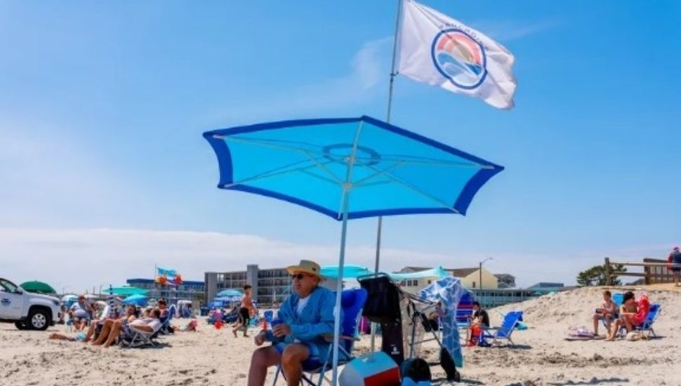George Panco of Ridley has his custom-made flag at the shore.