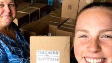 Teachers' Teammates founder Raelyn Harman works with volunteer Emily Markley carrying classroom supplies.