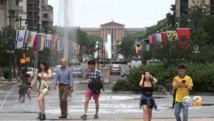 Tourists visiting Philadelphia.