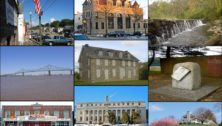 A collage of buildings and locations in Delaware County, named by Niche as one of the top 100 counties in the US.