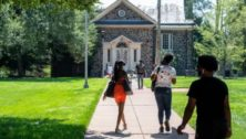 Students on the Cheyney University campus in August 2020..