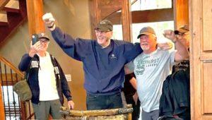 "Rich ""Bones"" Jones arrives at Winter Park, Colo. Pictured (from left) are Darby Boys Larry Del Viscio, Rich Jones, Rick DiCecco and Frank Canamudo."