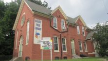 The exterior building of the Darby Free Library in Darby Borough.