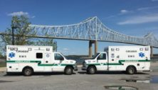 Two Crozer EMT ambulances at the Chester waterfront.