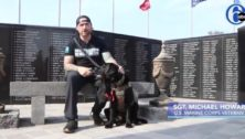 U.S. Marine Sgt. Michael Howard at the Delaware County Veterans Memorial.
