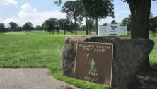 A plaque at Rolling Green Country Club is dedicated to William S. Flynn, the architect for the Rolling Green Golf Course.