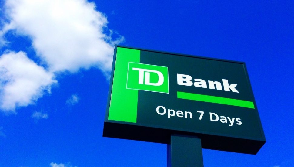A TD Bank sign.