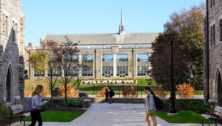 Two students on the Villanova University campus.
