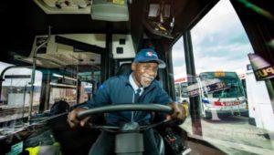 Muhammed Bilal Islam driving his SEPTA bus in Upper Darby.