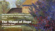 """Advertisement for Foundation for Delaware County's """"Shape o Hope"""" art show."""