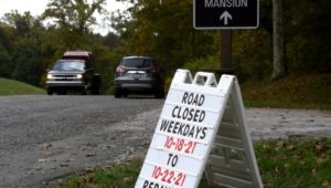 Road closure at Ridley Creek State Park for repaving.