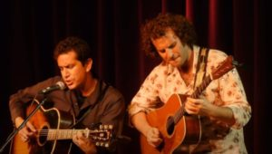 A.J. Croce (left) performs one of his father's songs.