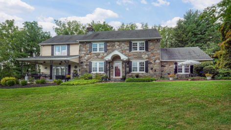 Front of a stone farmhouse at 676 W Rose Tree Road in Media