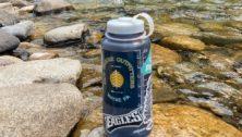 water bottle on river