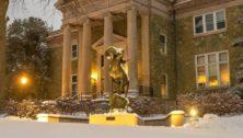 snow on college campus